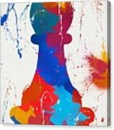 Pawn Chess Piece Paint Splatter Canvas Print