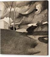 Paysage Aux Lourdes Nuages Canvas Print