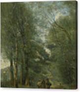 Paysans Causant Sur Le Chemin Longeant Canvas Print