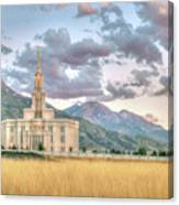 Payson Utah Lds Temple, Sunset View Of The Mountains And Grass Canvas Print