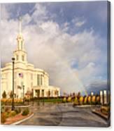 Payson Utah Temple Rainbow Canvas Print