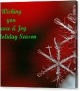 Peace And Joy Christmas Card Two Canvas Print