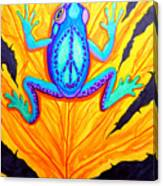 Peace Frog On Fall Leaf Canvas Print