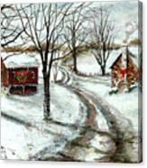 Peaceful Christmas Farm Canvas Print