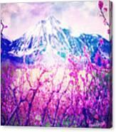 Peach Blossoms And Mount Lanborn Vi Canvas Print