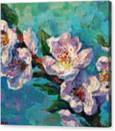 Peach Blossoms Flowers Painting Canvas Print