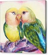 Peach-faced Lovebirds Canvas Print