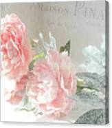 Peach Peonies Impressionistic Peony Floral Prints - French Impressionistic Peach Peony Prints Canvas Print