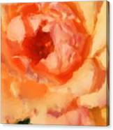 Peach Rose - Digital Painting Canvas Print