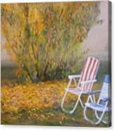 Peach Tree And Winter Fog Canvas Print