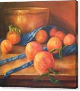Peaches With Apron Canvas Print
