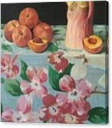 Peaches On Floral Tablecloth Canvas Print