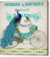 Peacock On Bicycle-jp3608 Canvas Print