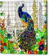 Peacock Stained Glass Canvas Print