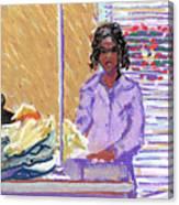 Pearl At The Clothes Press Canvas Print