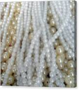 Pearl Beads - White And Beige Canvas Print
