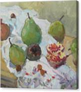 Pears Figs And Young Pomegranates Canvas Print