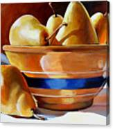 Pears In Yelloware Canvas Print