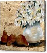 Pears On Gold Canvas Print