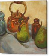 Pears With Copper Kettle Canvas Print
