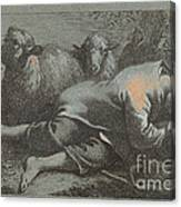 Peasant Boy Asleep Near Two Sheep Canvas Print