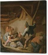 Peasant Brawl In A Tavern Canvas Print