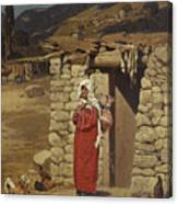 Peasant Carrying Water Canvas Print
