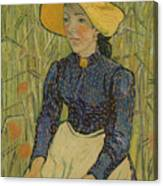 Peasant Girl In Straw Hat Canvas Print