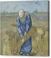 Peasant Woman Binding Sheaves After Millet Saint Remy De Provence  September 1889 Vincent Van Gogh Canvas Print