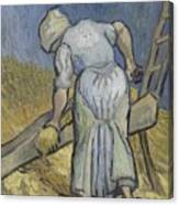 Peasant Woman Bruising Flax After Millet Saint Remy De Provence September 1889 Vincent Van Gogh  Canvas Print