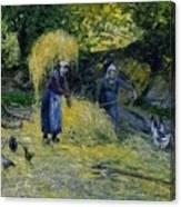 Peasants Carrying Straw Montfoucault 1875 Camille Pissarro Canvas Print