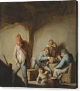 Peasants In The Interior Of An Inn Canvas Print