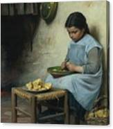 Peeling Potatoes Canvas Print
