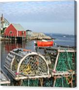 Peggys Cove And Lobster Traps Canvas Print