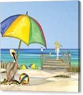 Pelican Under Umbrella Canvas Print