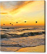 Pelicans At Sunrise  Signed 4651b 2  Canvas Print