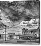Penarth Pier Morning Light 1 Mono Canvas Print