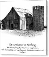 Pencil Drawing Of Old Barn With Bible Verse Canvas Print