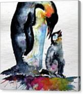 Penguin With Baby Canvas Print