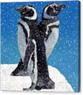 Penguins In The Snow Canvas Print