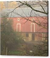 Pennsylvania German Barn In The Mist Canvas Print