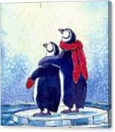 Penquins An Christmas Star Canvas Print