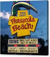 Pensacola Beach Sign At Sunset Canvas Print