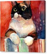 Pensive Calico Tubby Cat Watercolor Painting Canvas Print