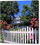 Peonies And Picket Fences Canvas Print