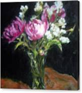 Peonies In A Glass Vase Canvas Print