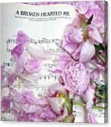 Peonies On Music Sheet - Pink Peonies Shabby Chic Inspirational Print - Peony Home Decor Canvas Print