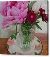 Peonies With Sweet Williams Canvas Print