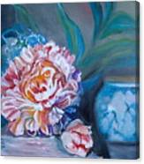 Peony And Chinese Vase Canvas Print