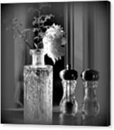 Peony In A Crystal Vase On The Dining Table Canvas Print